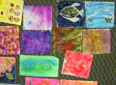 DSCN3083 A Sea of Colorful Fabric Using 10 Techniques with Acrylic Inks
