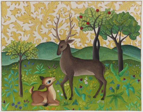 Oh Deer quilt 590x463 Fauna