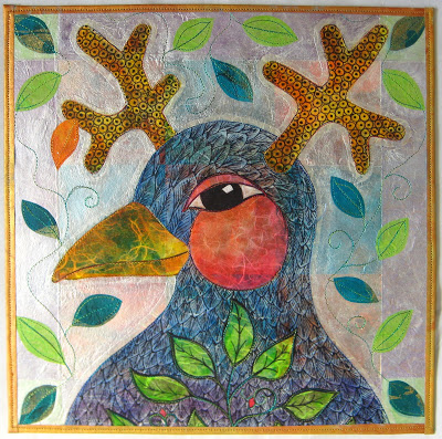 bird+shaman+mm Mixed Media Paper Quilt #3