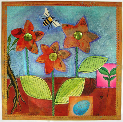mixmediaflowerquilt Mixed Media Paper Quilt #2