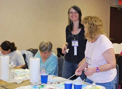 teaching+painting Painting Whole Cloth Fabric Class at Quilt Festival